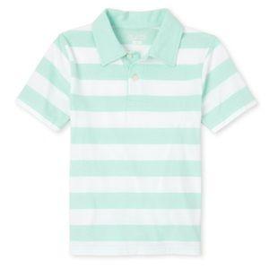 NWT PLACE Boy Sea Green Striped Polo Shirt L10-12